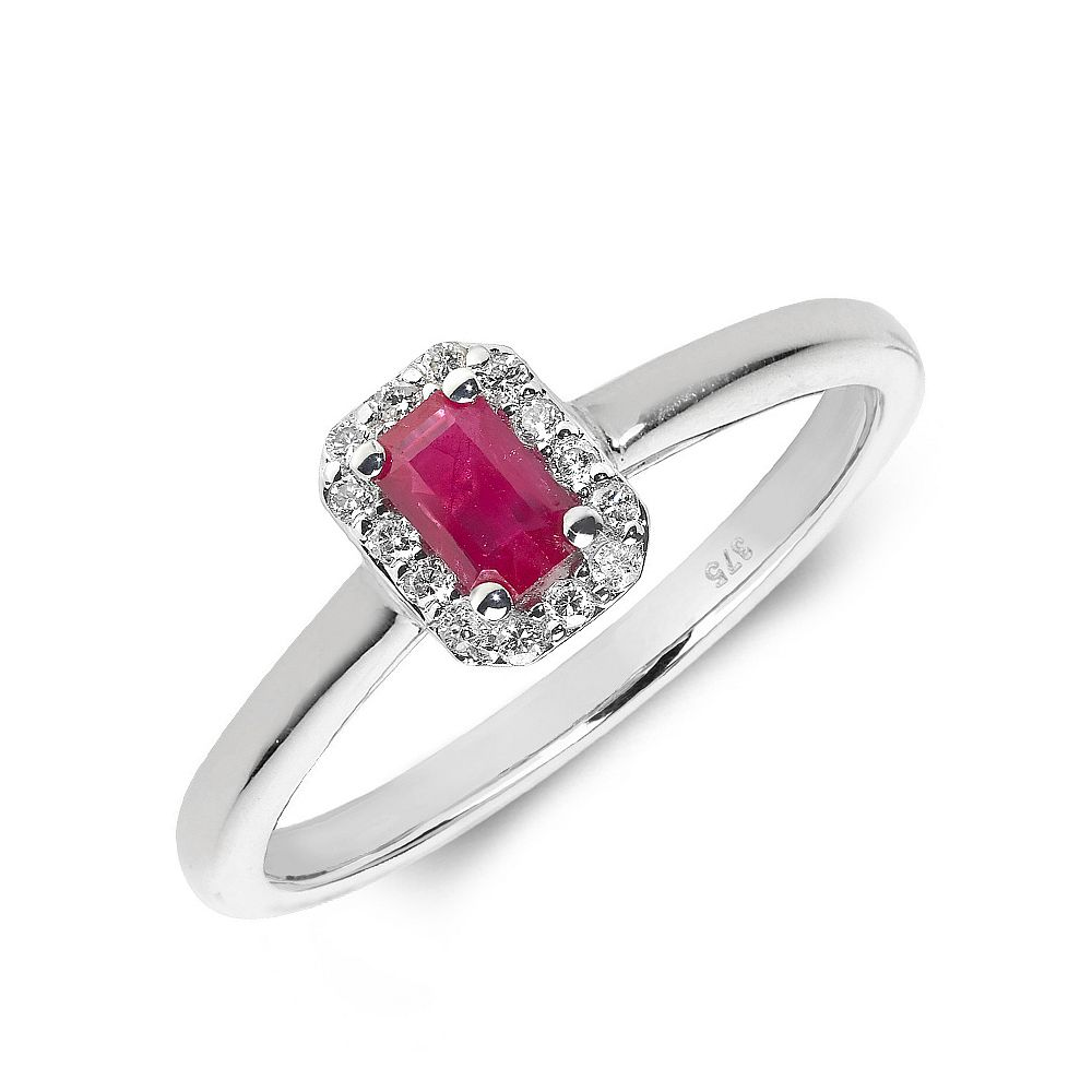 Gemstone Ring With 0.3ct Emerald Shape Ruby and Diamonds