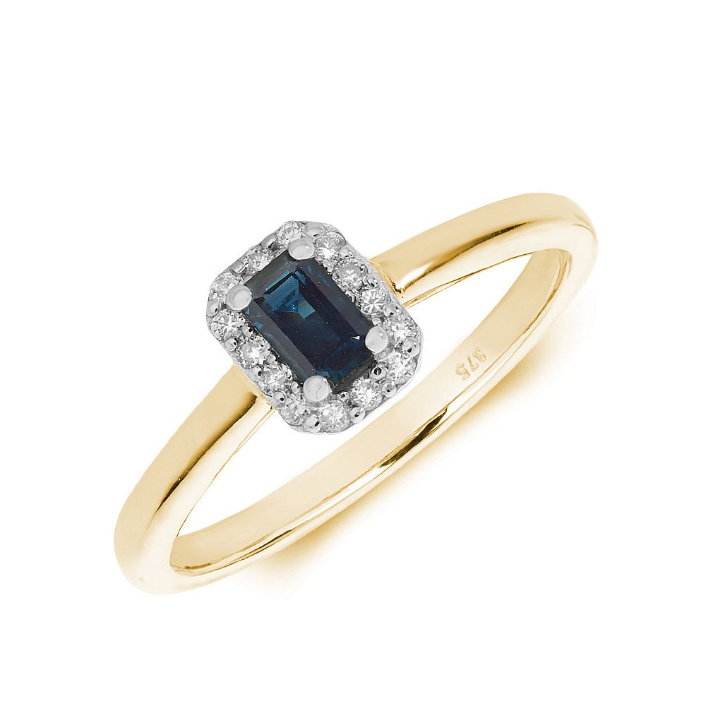 Gemstone Ring With 0.3ct Emerald Shape Blue Sapphire and Diamonds