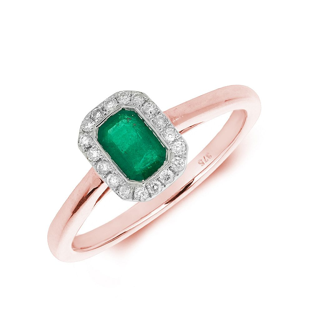 Gemstone Ring With 0.6ct Emerald Shape Emerald and Diamonds