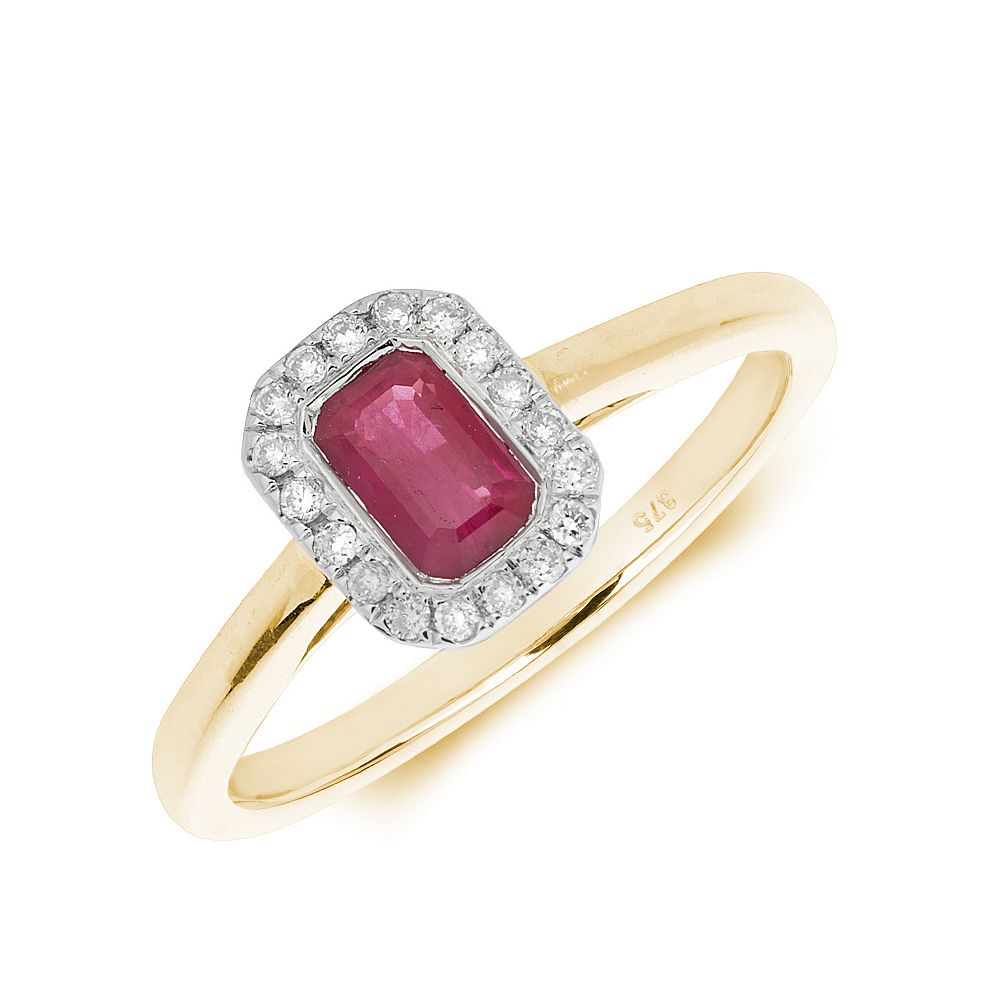 Gemstone Ring With 0.6ct Emerald Shape Ruby and Diamonds