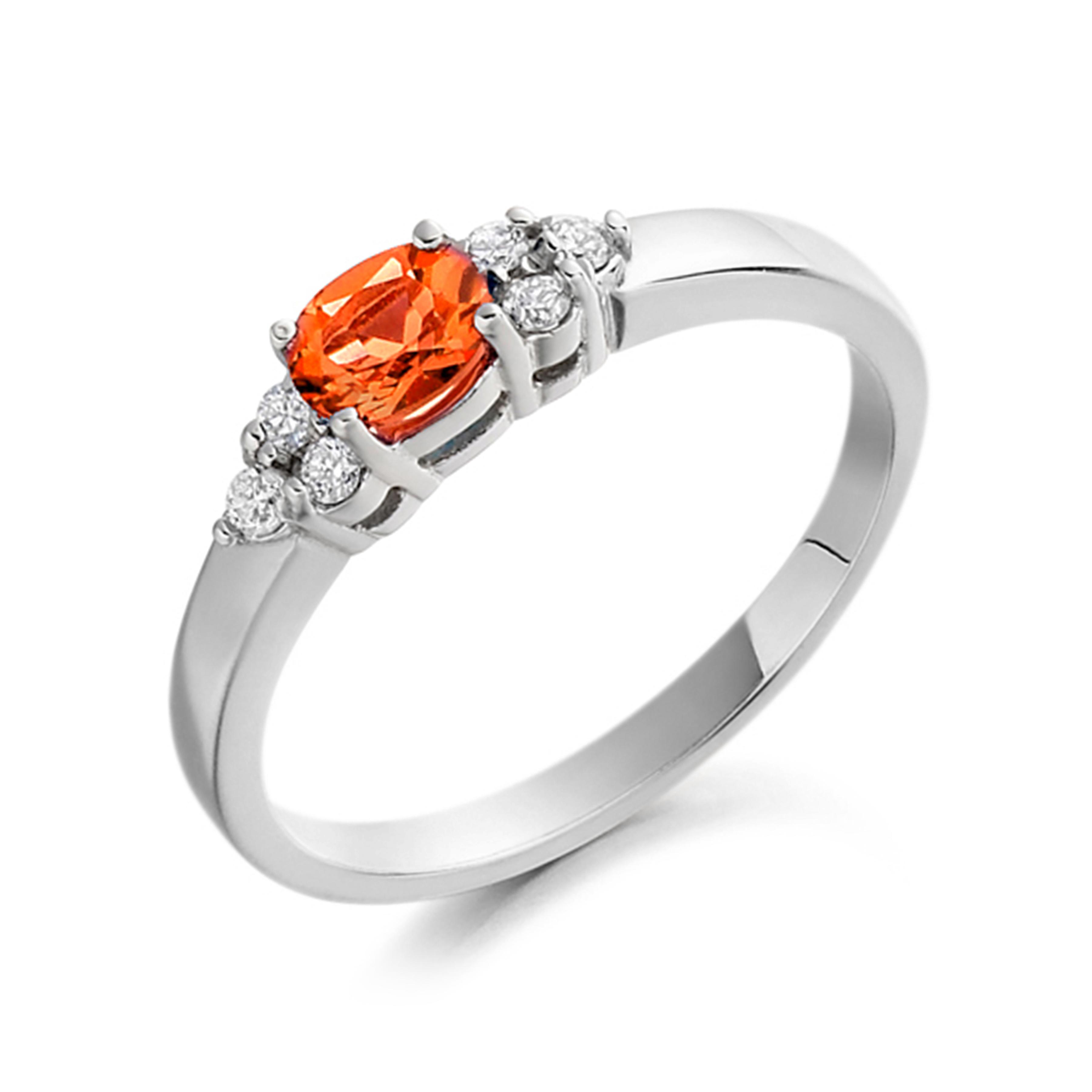 Gemstone Ring With 0.35ct Princess Shape Emerald and Diamonds