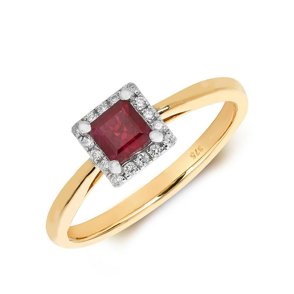 Gemstone Ring With 0.35ct Princess Shape Ruby and Diamonds