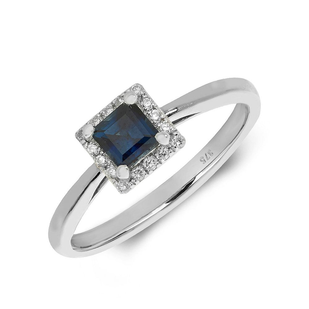 Gemstone Ring With 0.35ct Princess Shape Blue Sapphire and Diamonds
