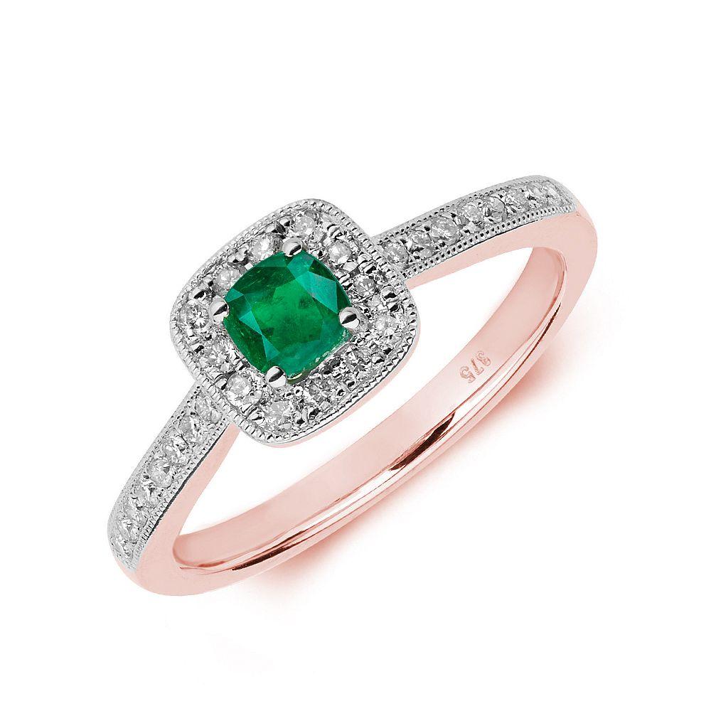 Gemstone Ring With 0.3ct Cushion Shape Emerald and Diamonds
