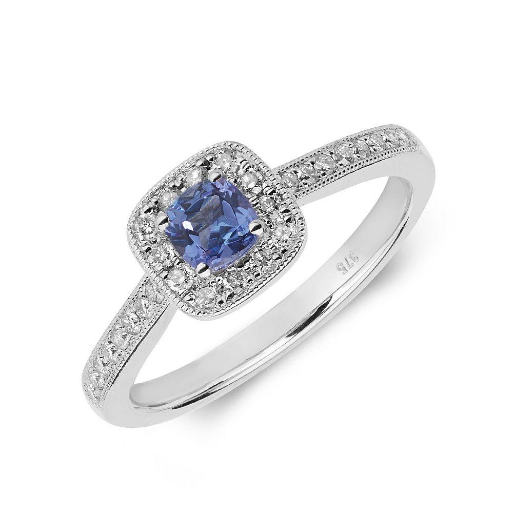 Gemstone Ring With 0.3ct Cushion Shape Tanzanite and Diamonds