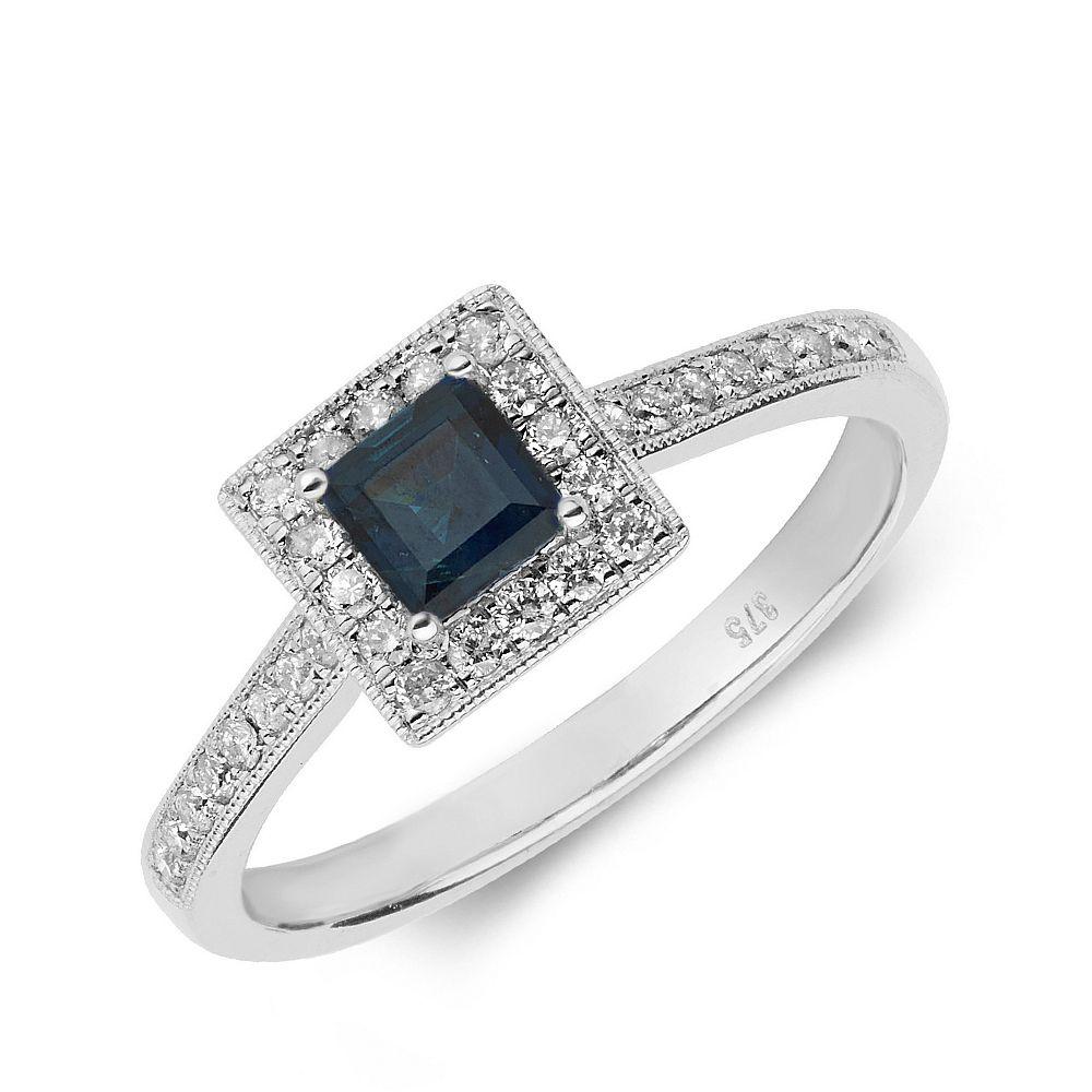 Gemstone Ring With 0.4ct Princess Shape Blue Sapphire and Diamonds