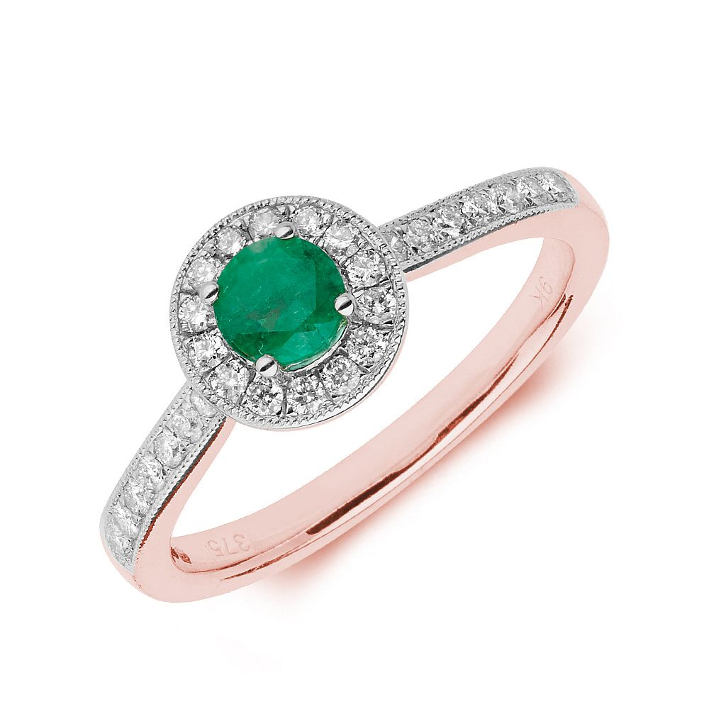 Gemstone Ring With 0.35ct Round Shape Emerald and Diamonds
