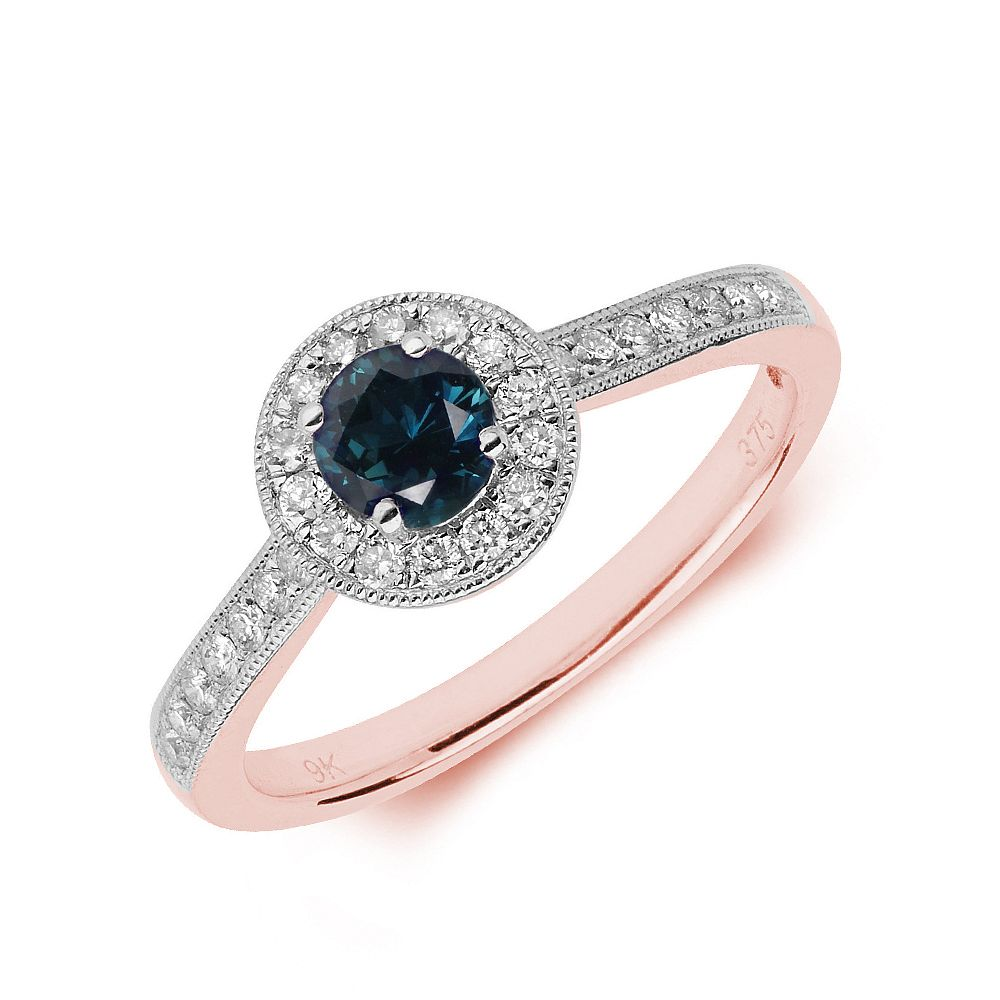 Gemstone Ring With 0.35ct Round Shape Blue Sapphire and Diamonds