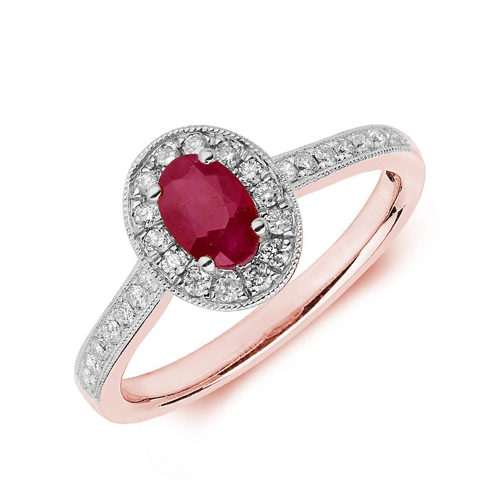 Gemstone Ring With 0.45ct Oval Shape Ruby and Diamonds