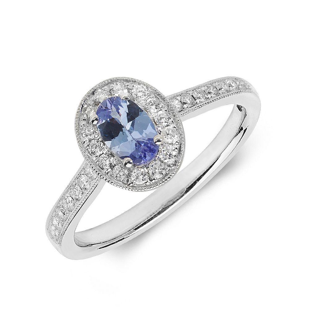 Gemstone Ring With 0.45ct Oval Shape Tanzanite and Diamonds