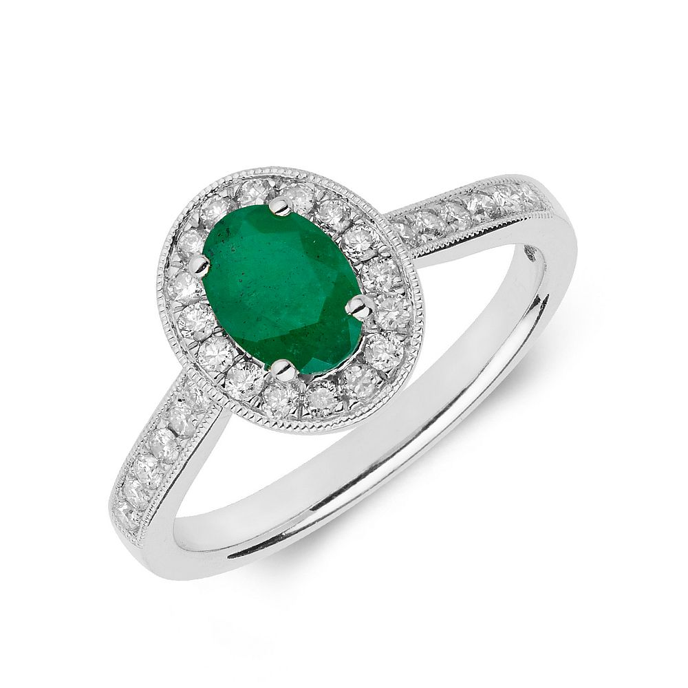 Gemstone Ring With 0.75ct Oval Shape Emerald and Diamonds