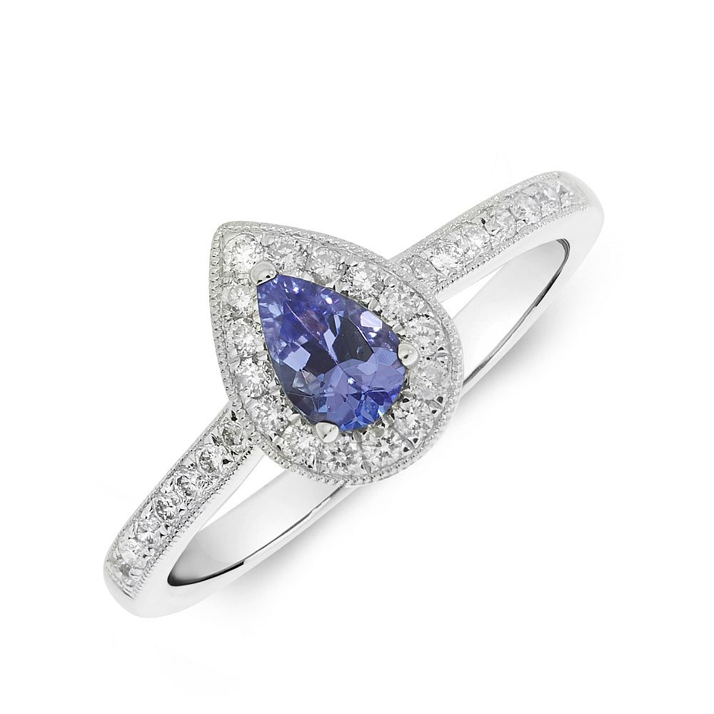 Gemstone Ring With 0.3ct Pear Shape Tanzanite and Diamonds