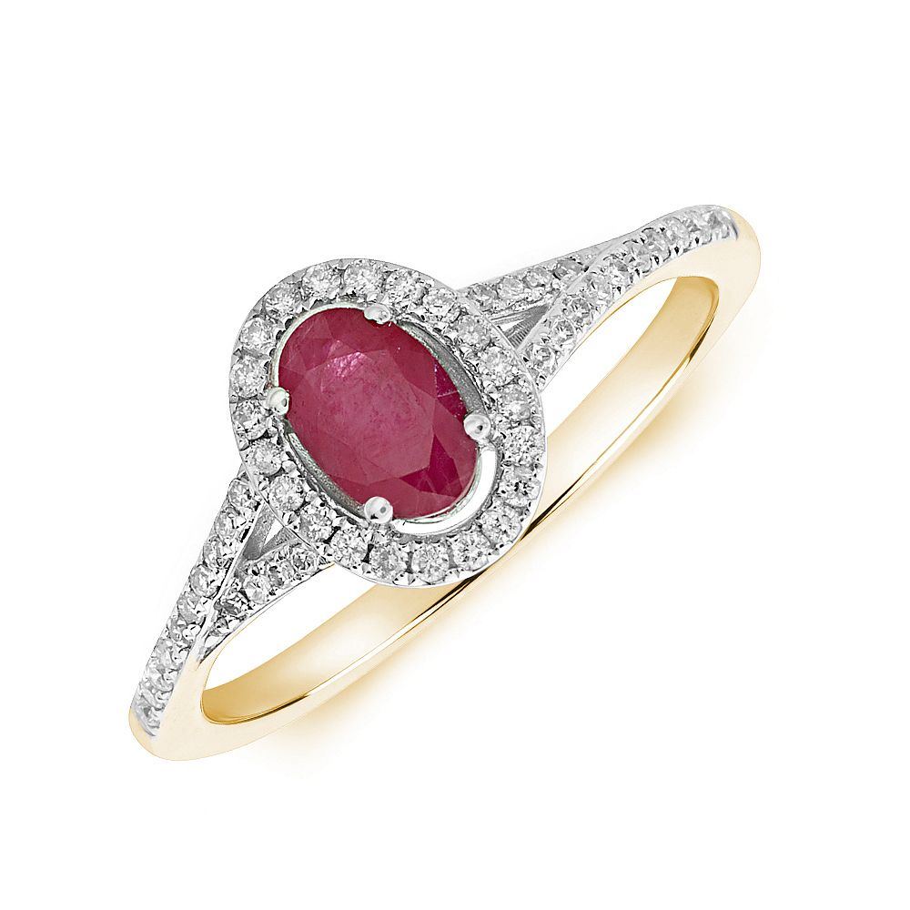 Gemstone Ring With 0.55ct Oval Shape Ruby and Diamonds