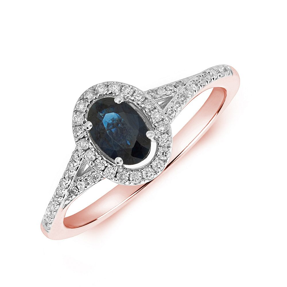 Gemstone Ring With 0.55ct Oval Shape Blue Sapphire and Diamonds