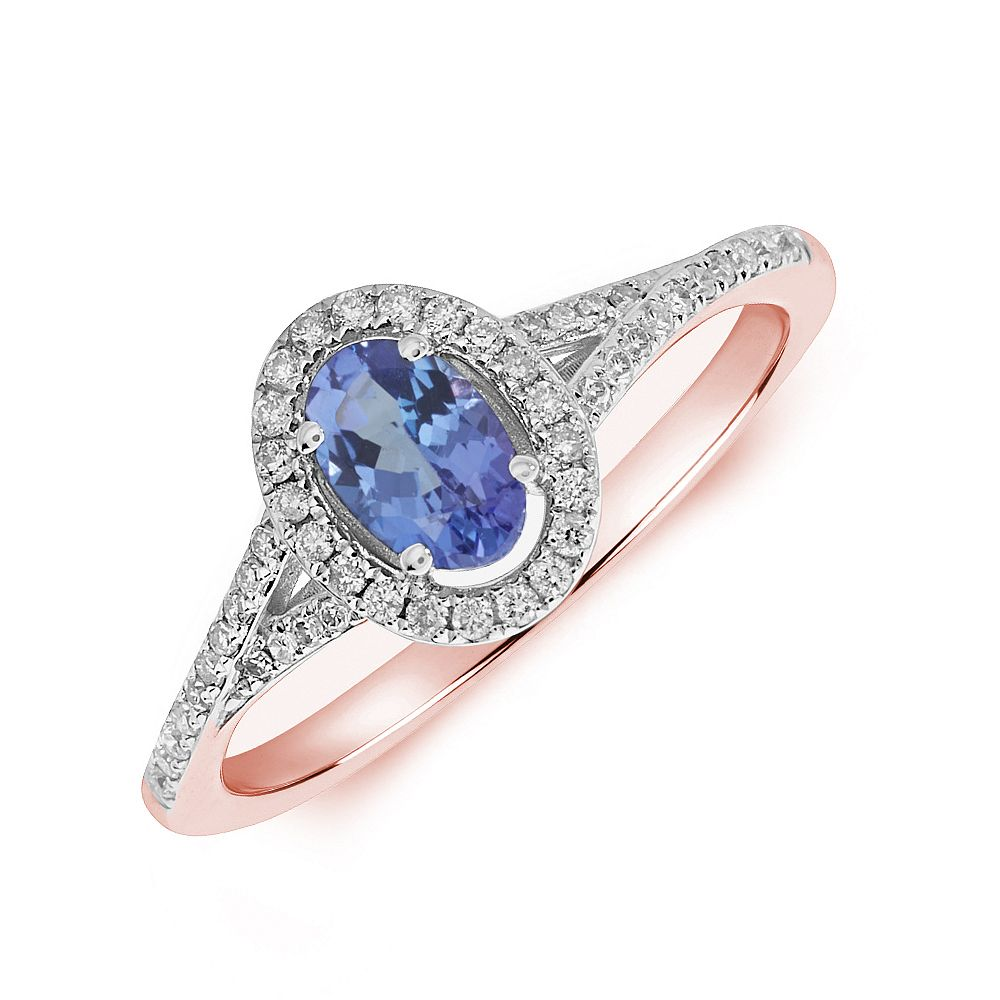Gemstone Ring With 0.55ct Oval Shape Tanzanite and Diamonds