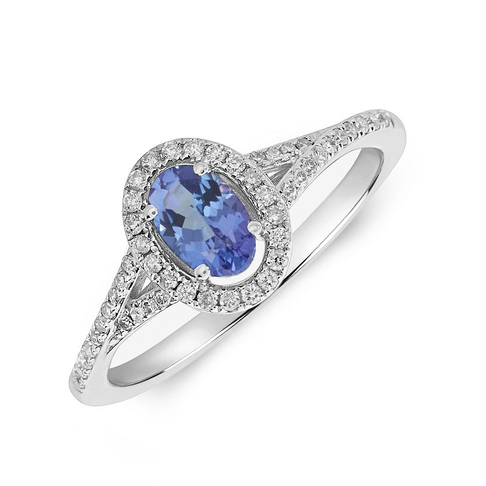 Gemstone Ring With 0.55ct Oval Shape Tanzanite and Diamonds