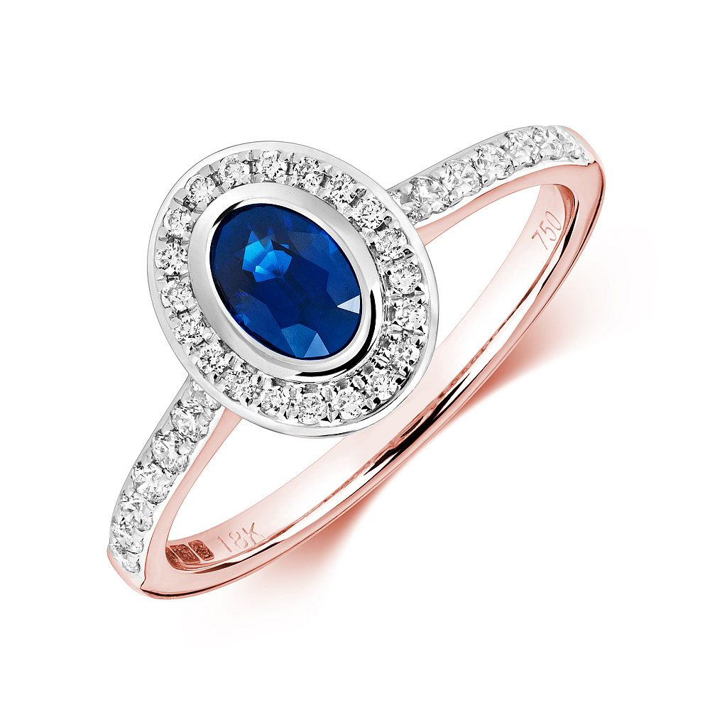 Gemstone Ring With 0.45ct Oval Shape Blue Sapphire and Diamonds
