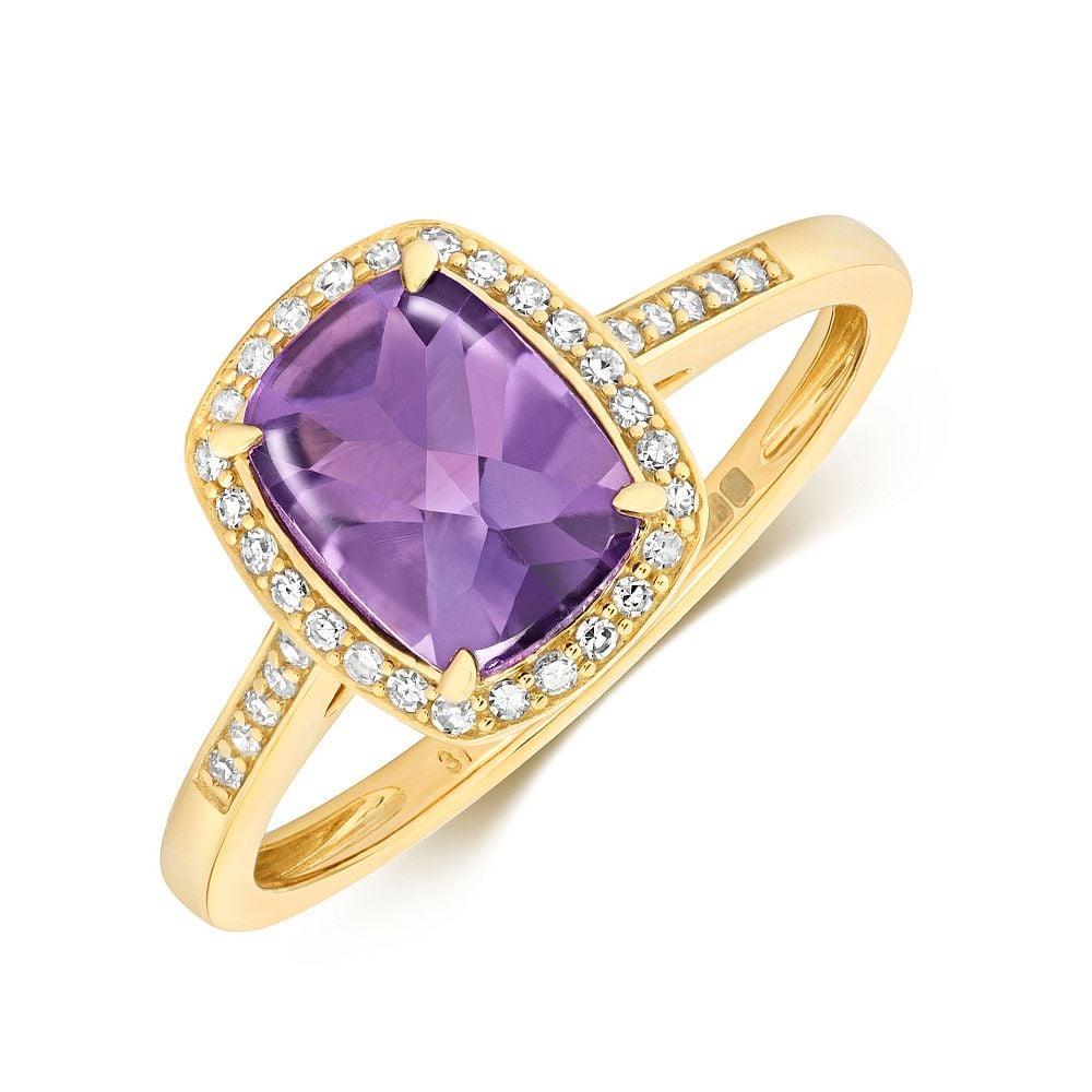 Gemstone Ring With 8X6mm Cushion Shape Amethyst and Diamonds