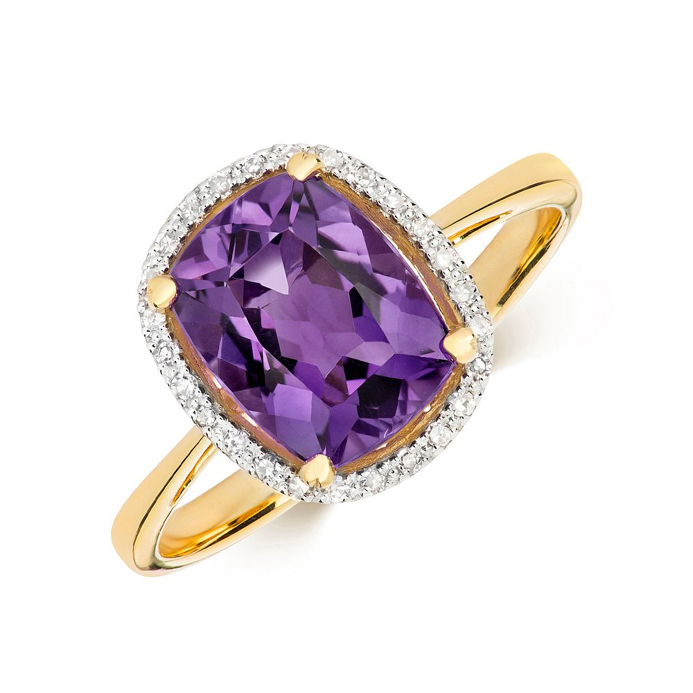 Gemstone Ring With 9X7mm Cushion Shape Amethyst and Diamonds