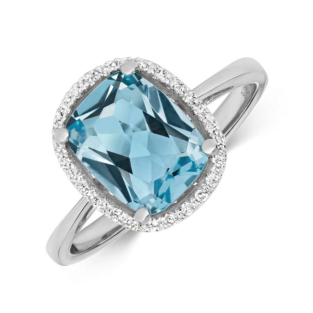 Gemstone Ring With 9X7mm Cushion Shape Blue Topaz and Diamonds