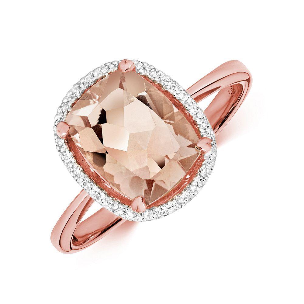 Gemstone Ring With 9X7mm Cushion Shape Morganite and Diamonds