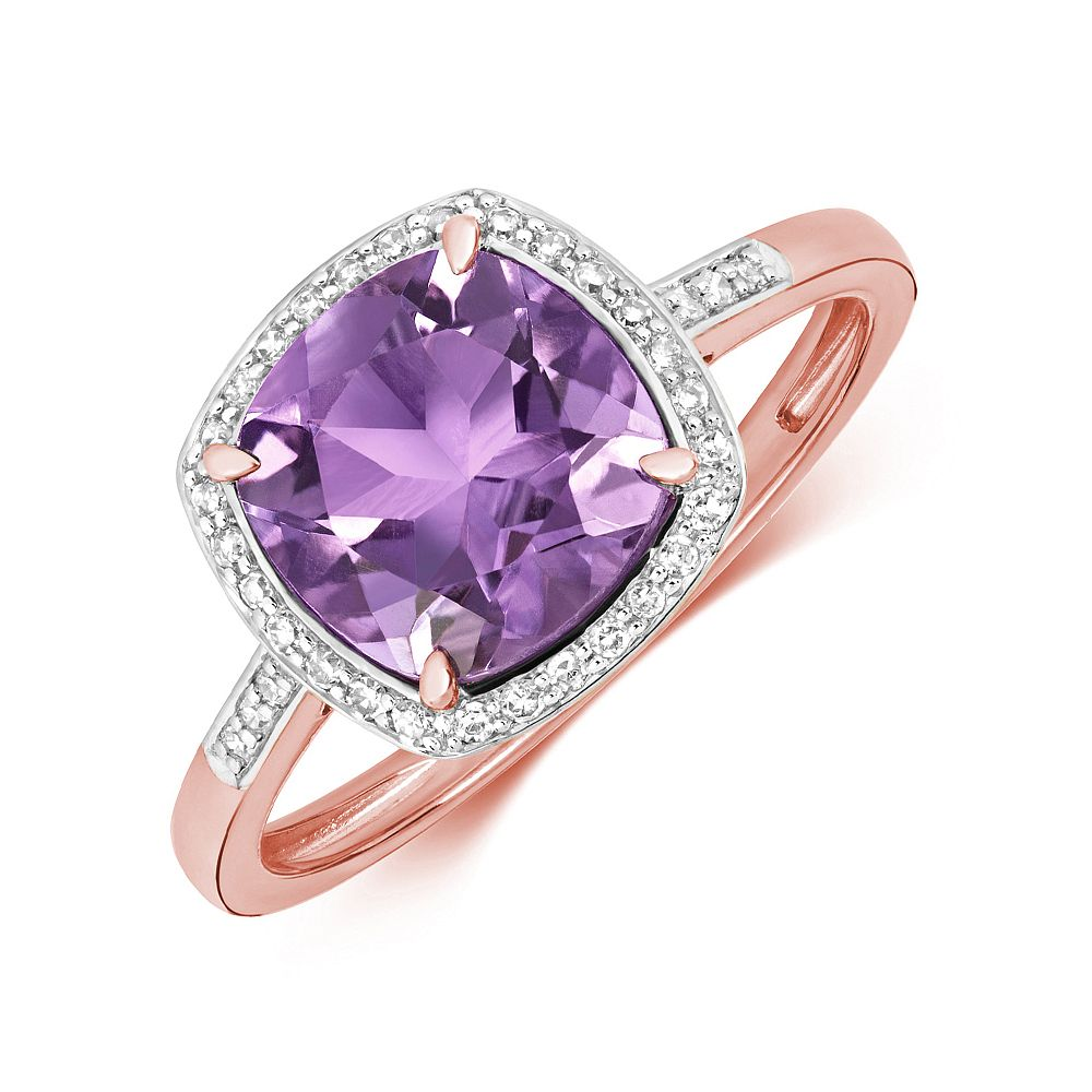 Gemstone Ring With 8X8mm Cushion Shape Amethyst and Diamonds