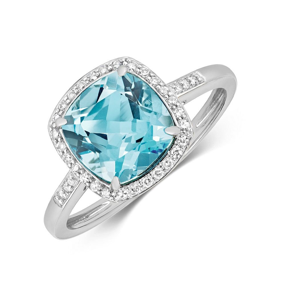 Gemstone Ring With 8X8mm Cushion Shape Blue Topaz and Diamonds
