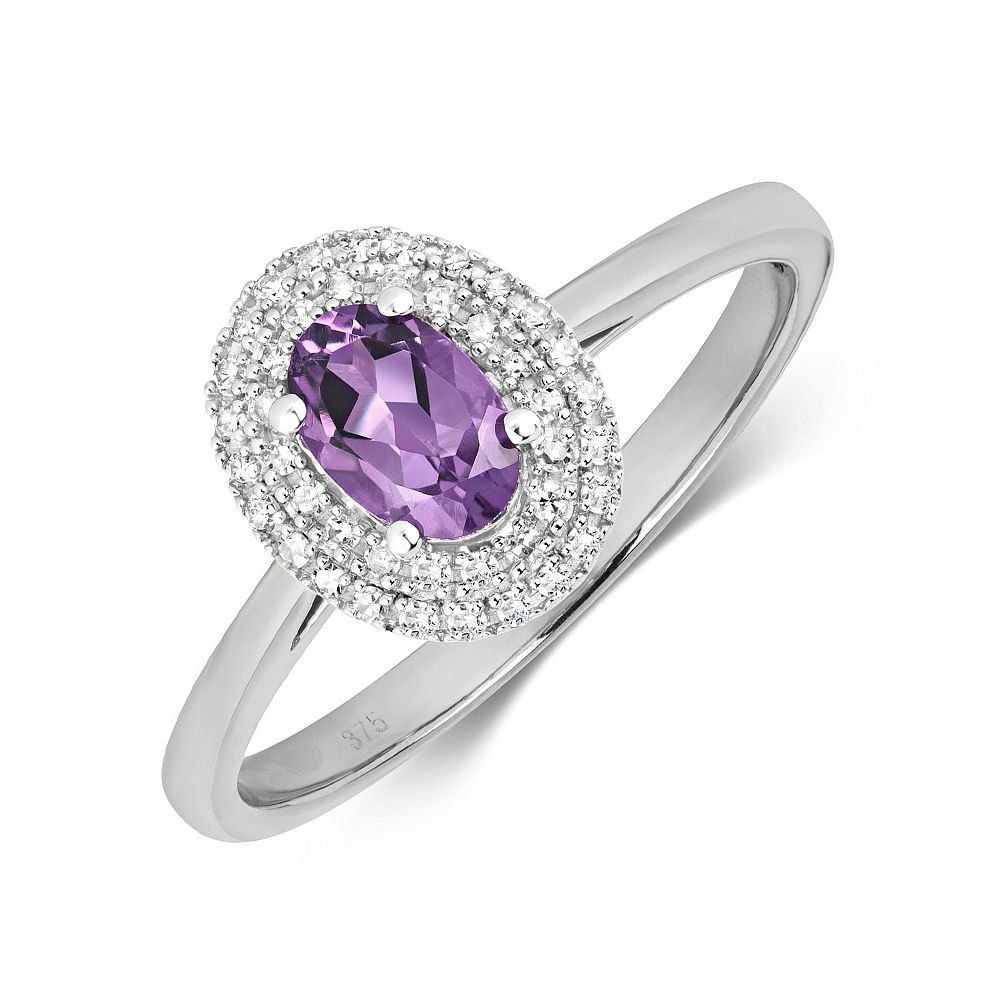 Gemstone Ring With 6X4mm Oval Shape Amethyst and Diamonds