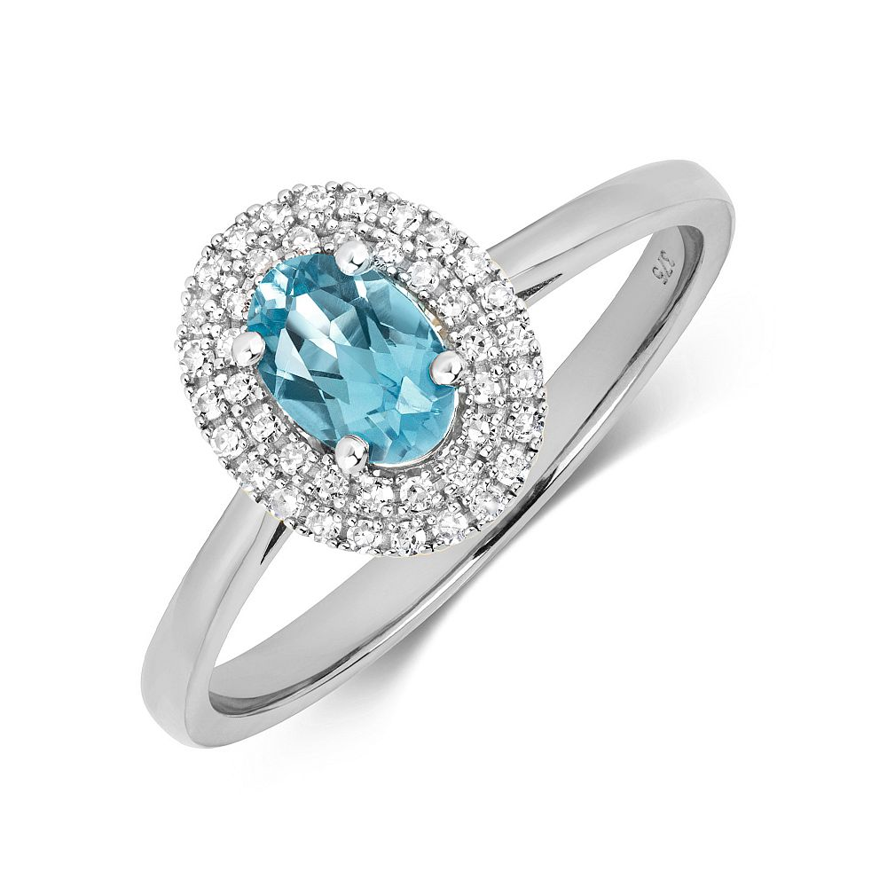 Gemstone Ring With 6X4mm Oval Shape Blue Topaz and Diamonds