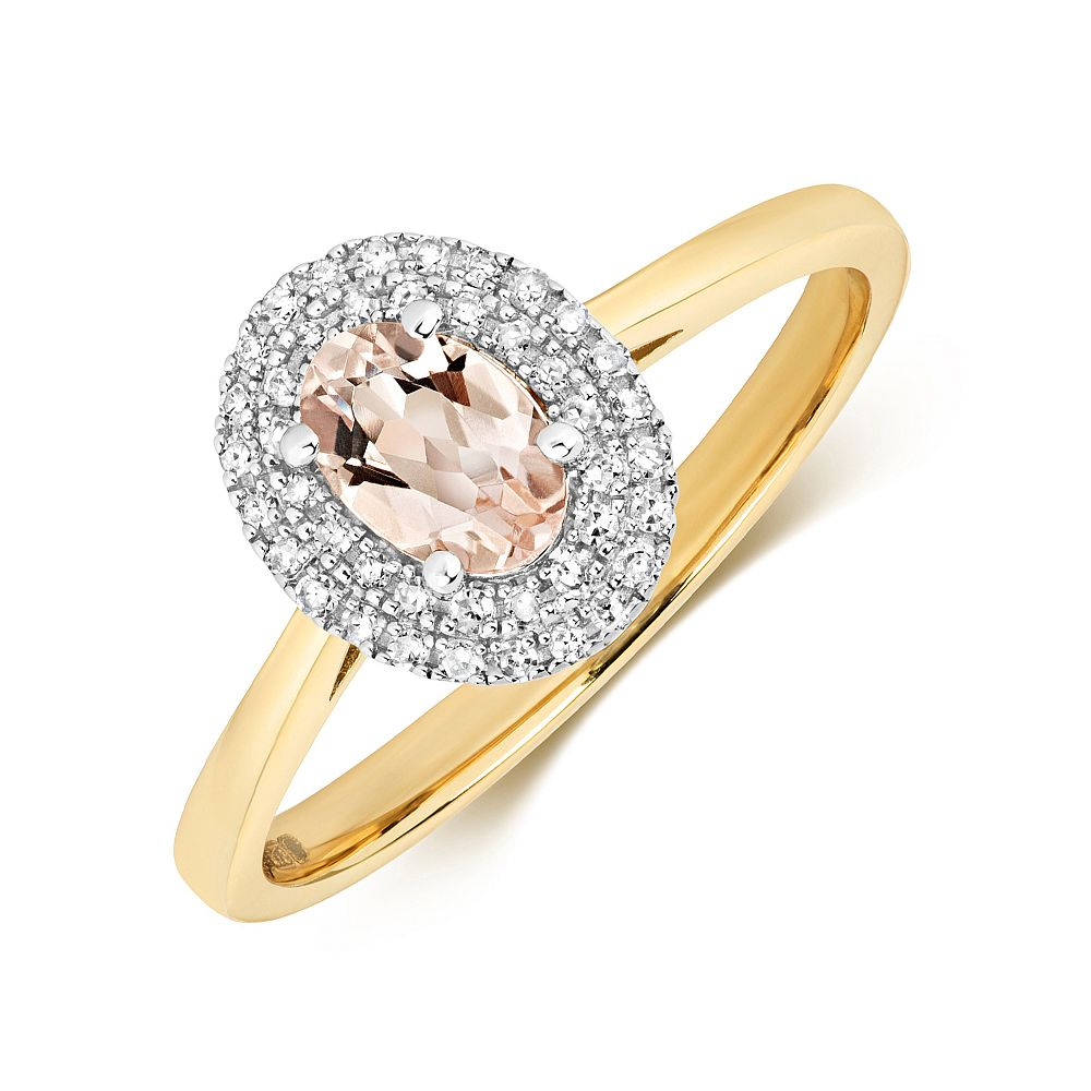Gemstone Ring With 6X4mm Oval Shape Morganite and Diamonds