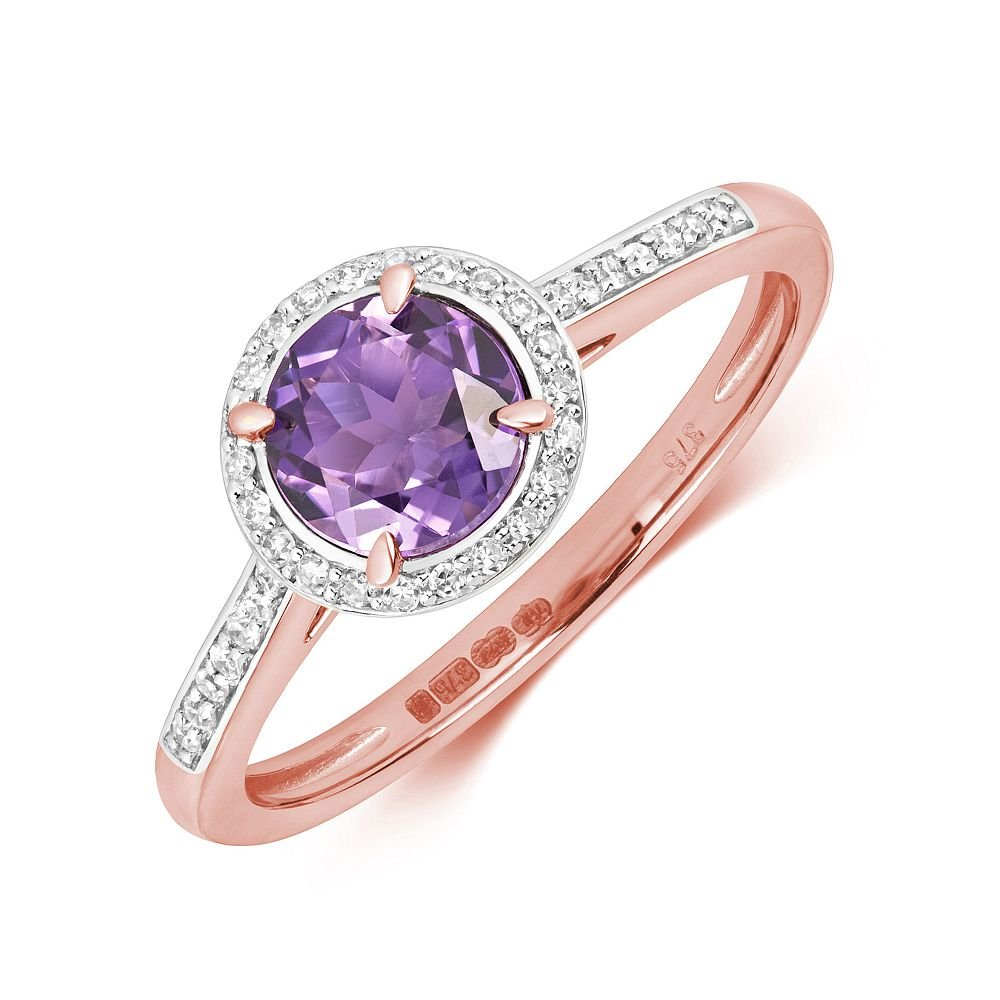 Gemstone Ring With 6.0mm Round Shape Amethyst and Diamonds