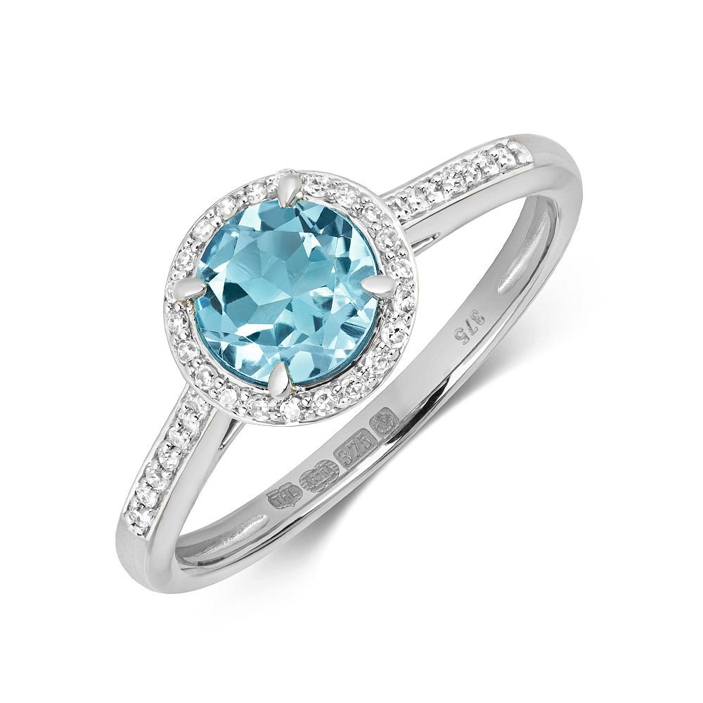 Gemstone Ring With 6.0mm Round Shape Blue Topaz and Diamonds