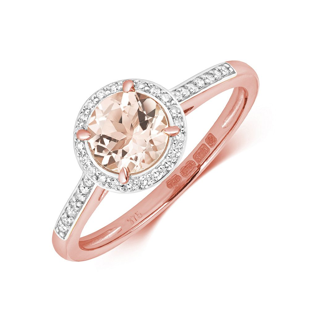 Gemstone Ring With 6.0mm Round Shape Morganite and Diamonds