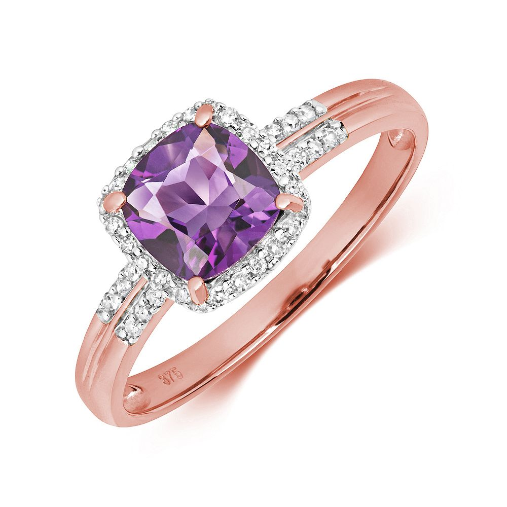 Gemstone Ring With 6.0mm Cushion Shape Amethyst and Diamonds