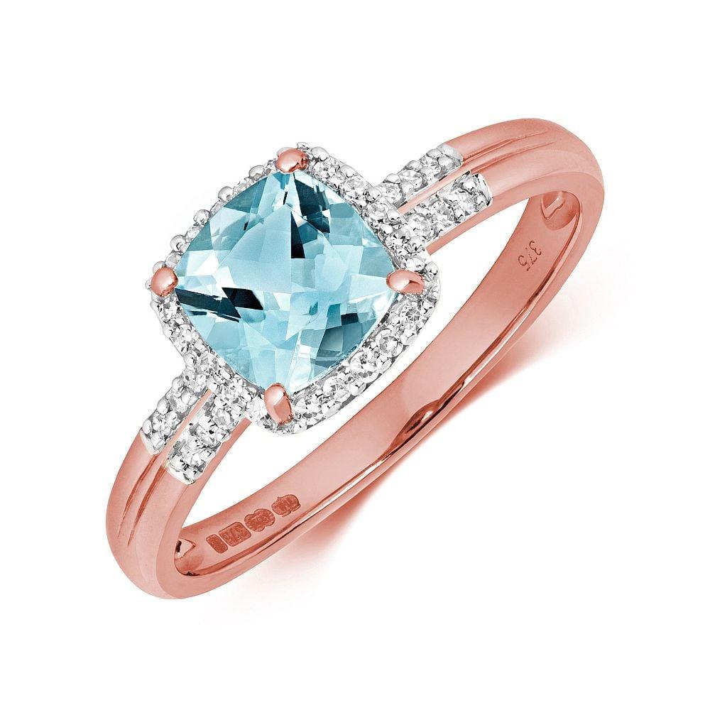 Gemstone Ring With 6.0mm Cushion Shape Blue Topaz and Diamonds