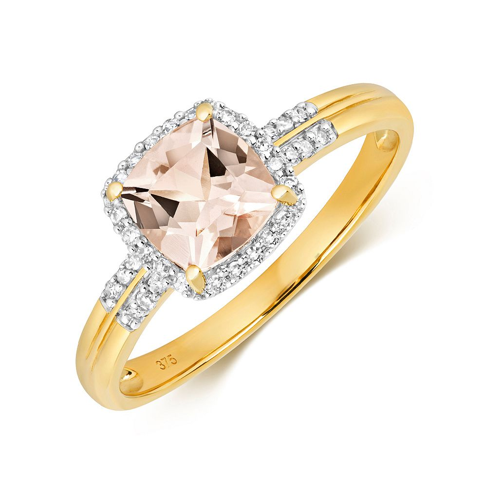 Gemstone Ring With 6.0mm Cushion Shape Morganite and Diamonds