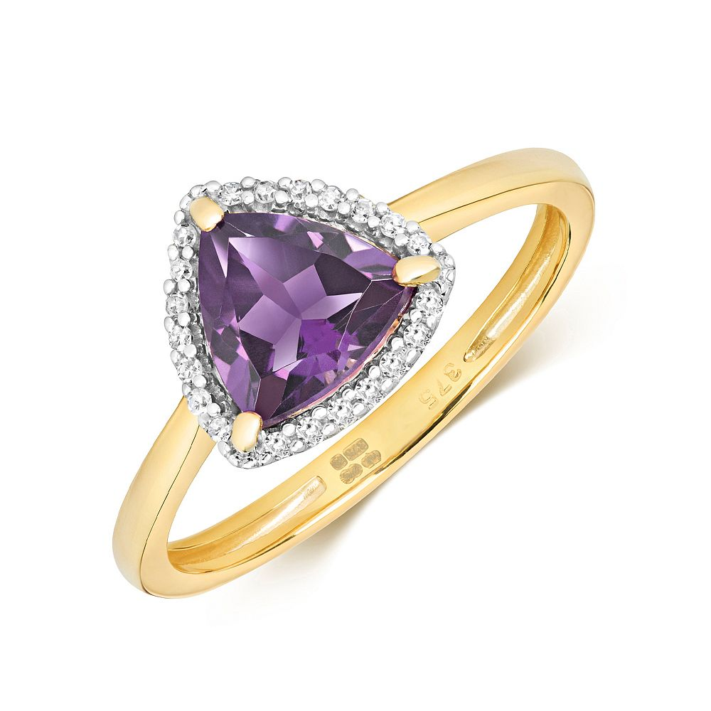 Gemstone Ring With 7X7mm Trillion Shape Amethyst and Diamonds