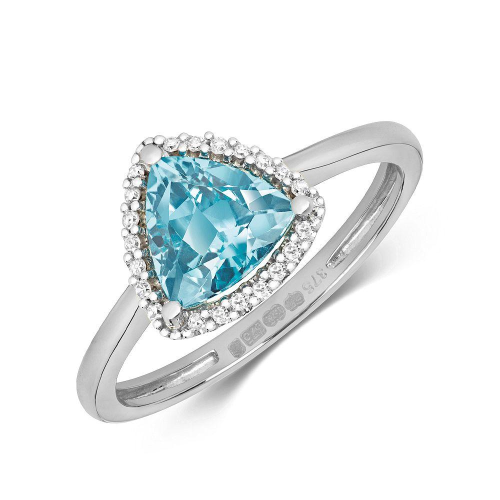 Gemstone Ring With 7X7mm Trillion Shape Blue Topaz and Diamonds