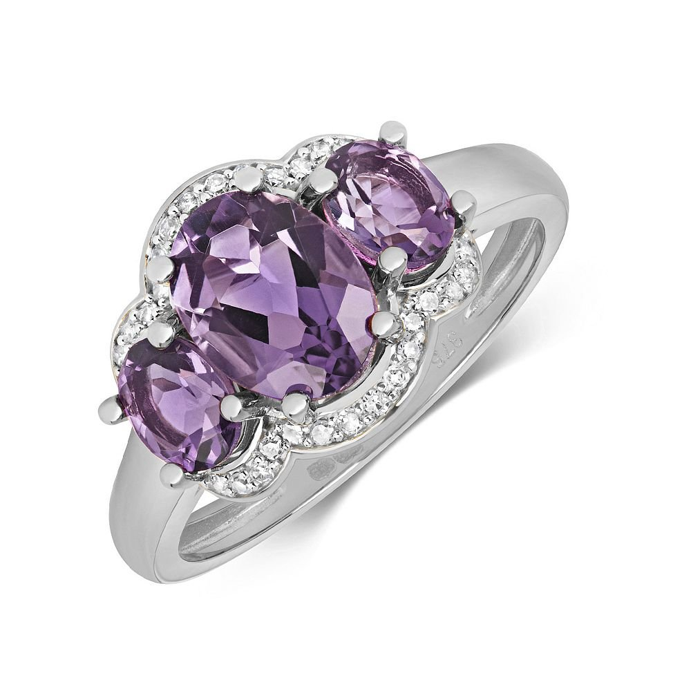 Gemstone Ring With 8X6 & 5X4mm Oval Shape Amethyst and Diamonds
