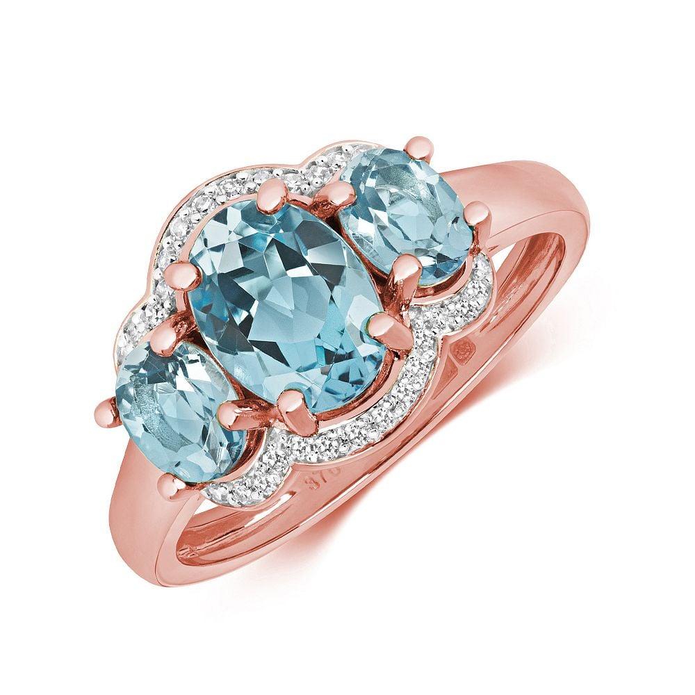 Gemstone Ring With 8X6 & 5X4mm Oval Shape Blue Topaz and Diamonds