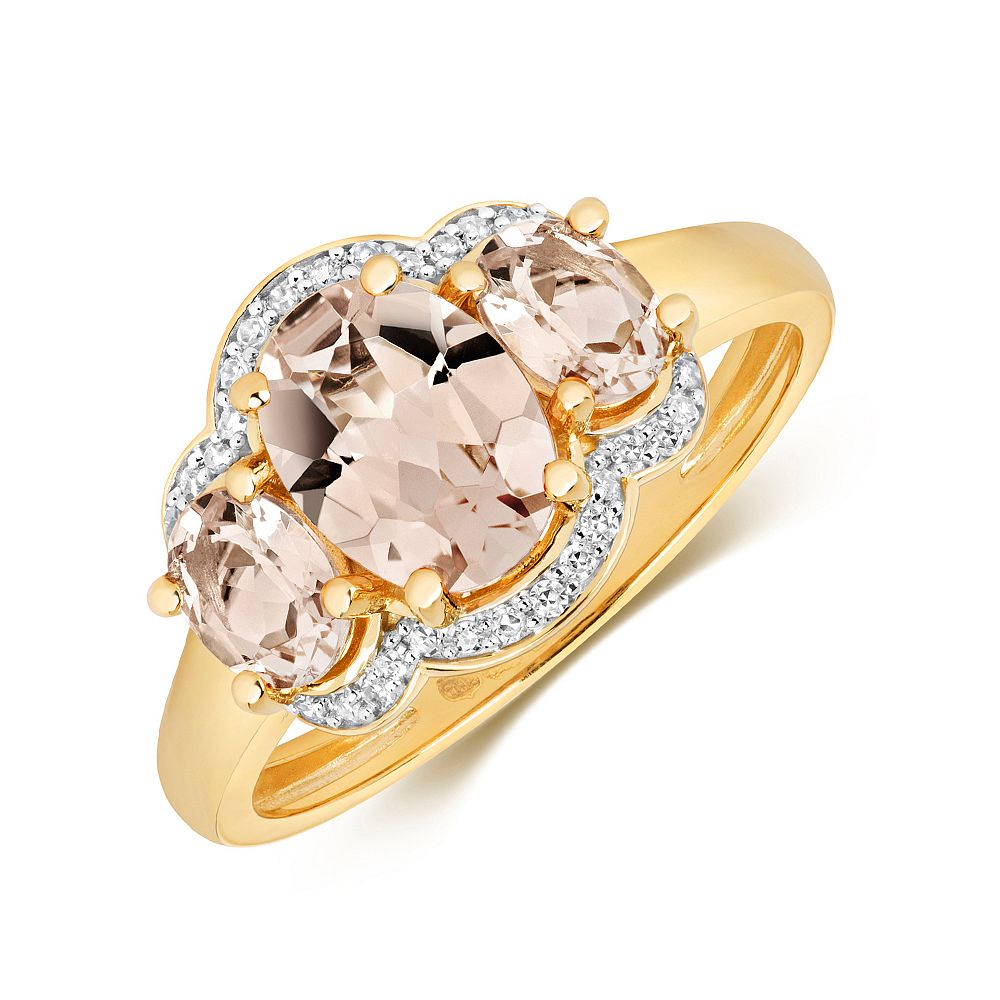 Gemstone Ring With 8X6 & 5X4mm Oval Shape Morganite and Diamonds