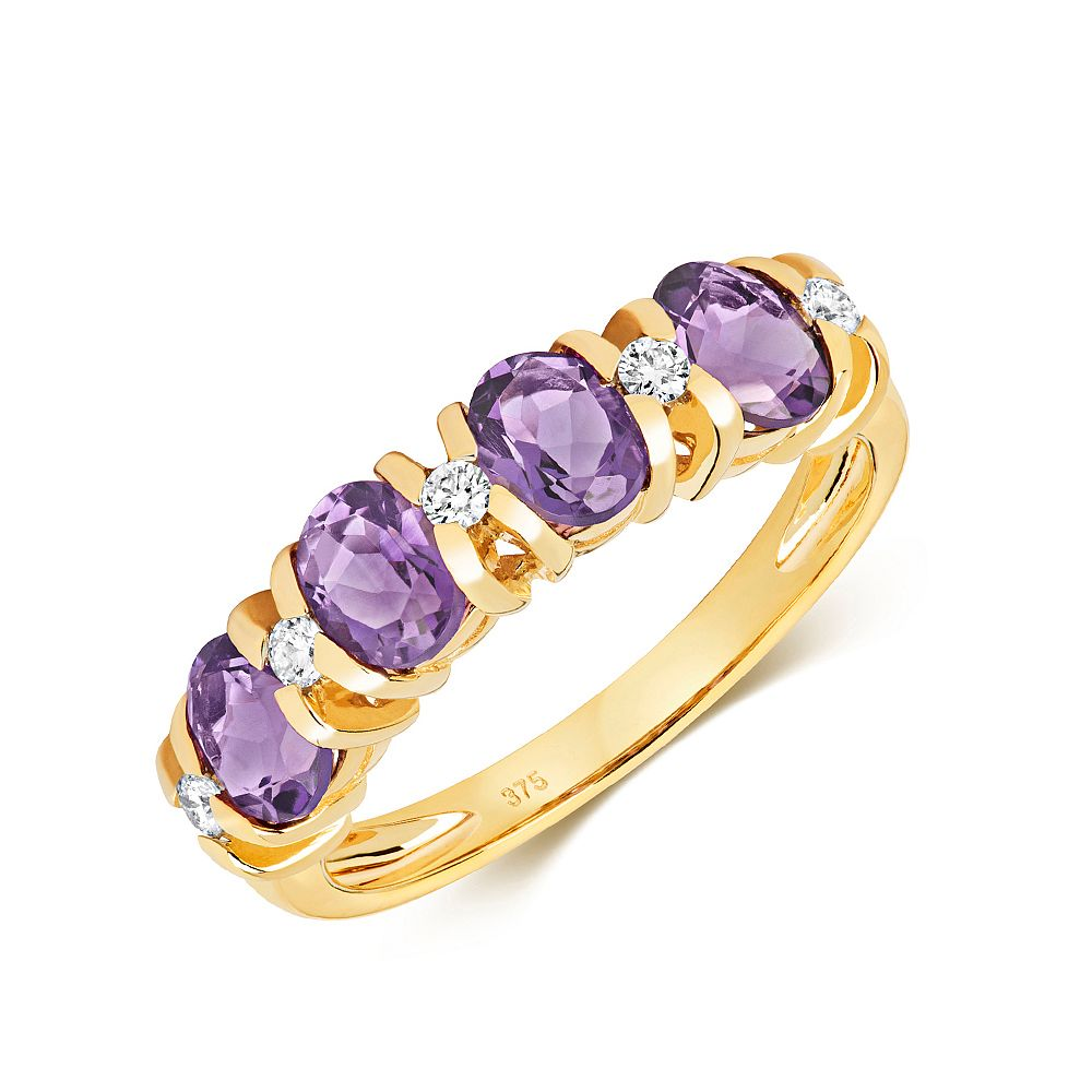 Gemstone Ring With 5X4mm Oval Shape Amethyst and Diamonds