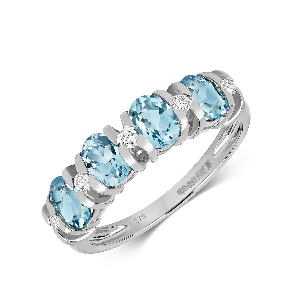 Gemstone Ring With 5X4mm Oval Shape Blue Topaz and Diamonds