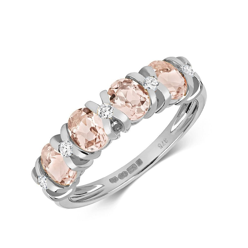 Gemstone Ring With 5X4mm Oval Shape Morganite and Diamonds
