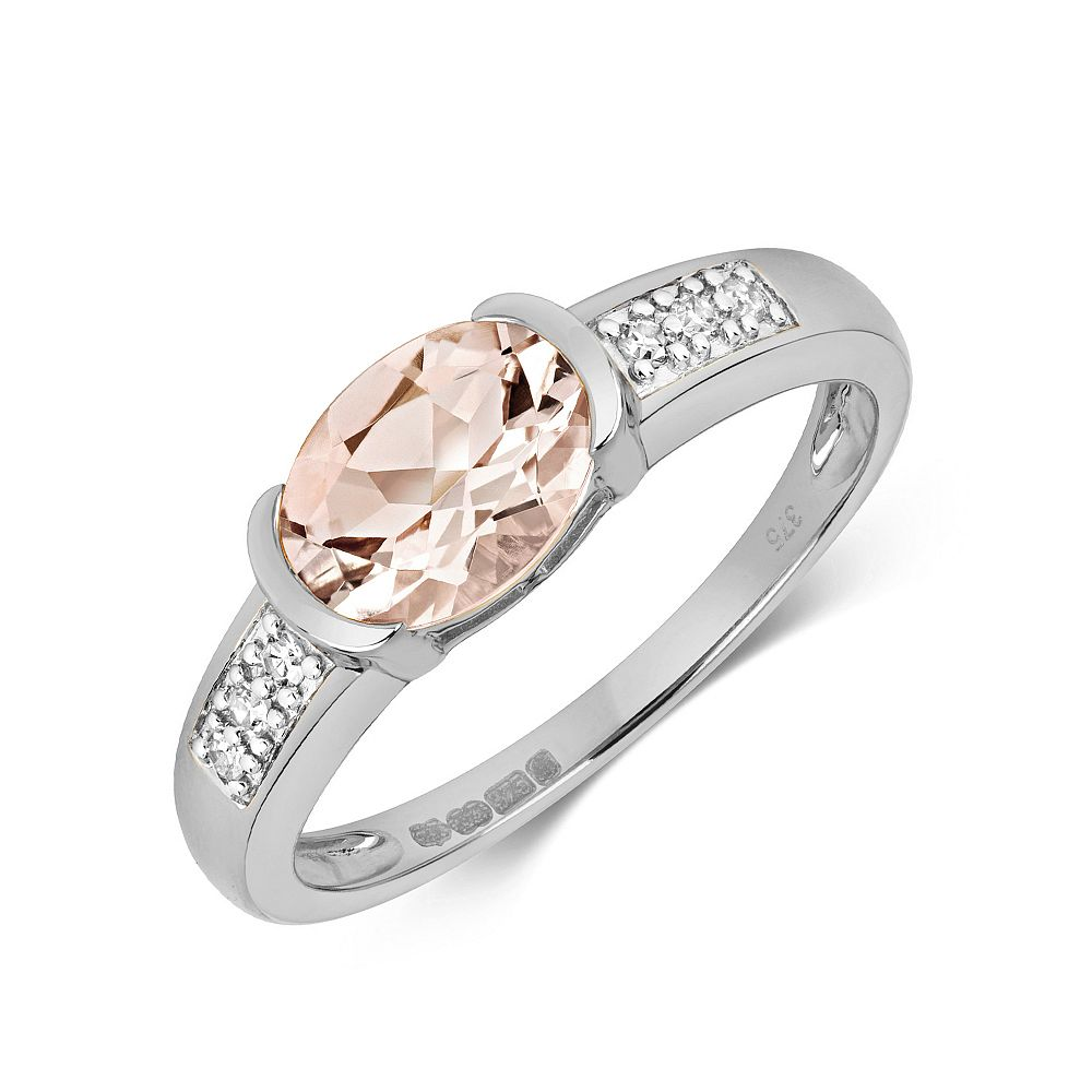 Gemstone Ring With 8X6mm Oval Shape Morganite and Diamonds