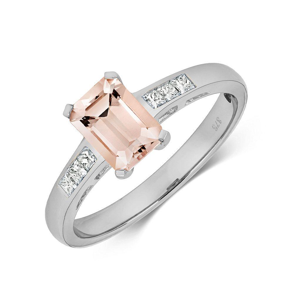 Gemstone Ring With 7X5mm Emerald Shape Morganite and Diamonds