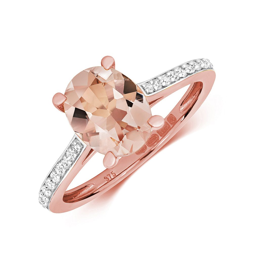 Gemstone Ring With 9X7mm Oval Shape Morganite and Diamonds