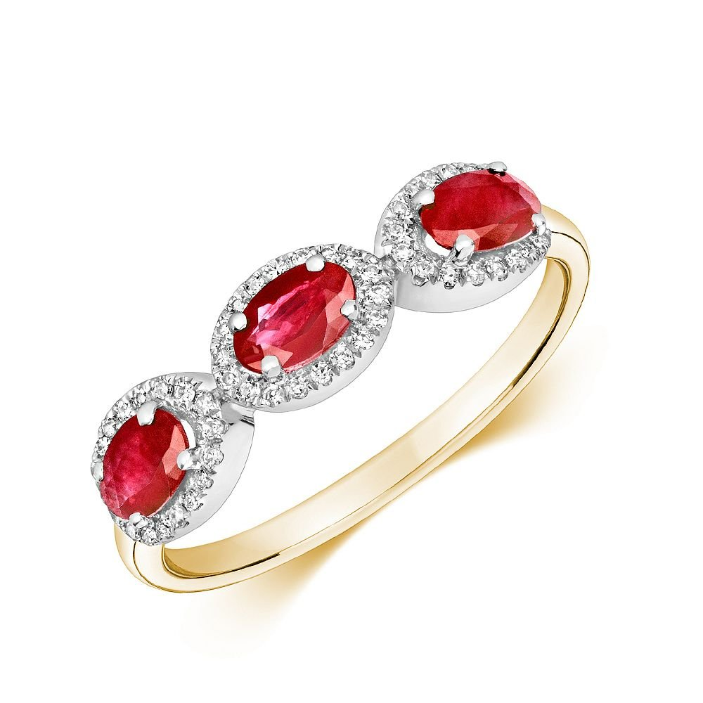 Gemstone Ring With 0.85mm Oval Shape Ruby and Diamonds