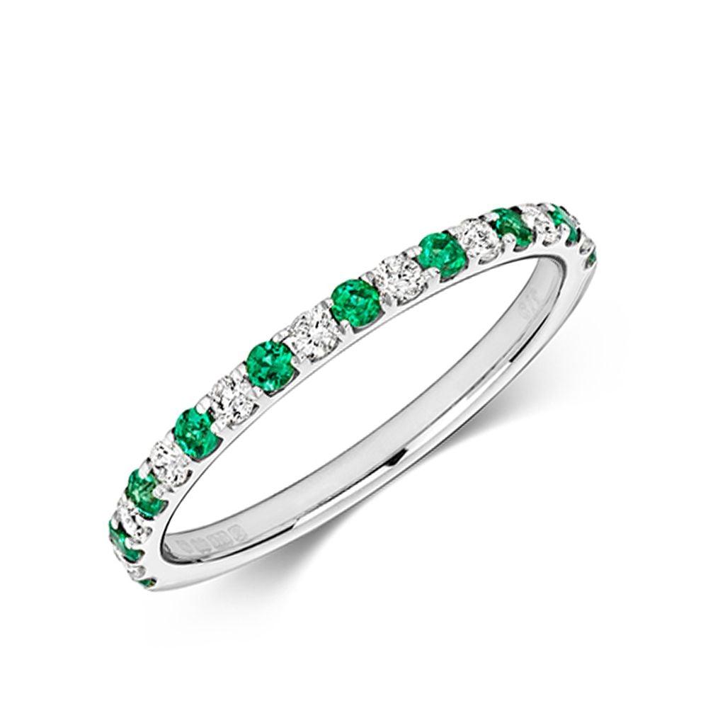 Claw Set Half Eternity Diamond and emerald ring