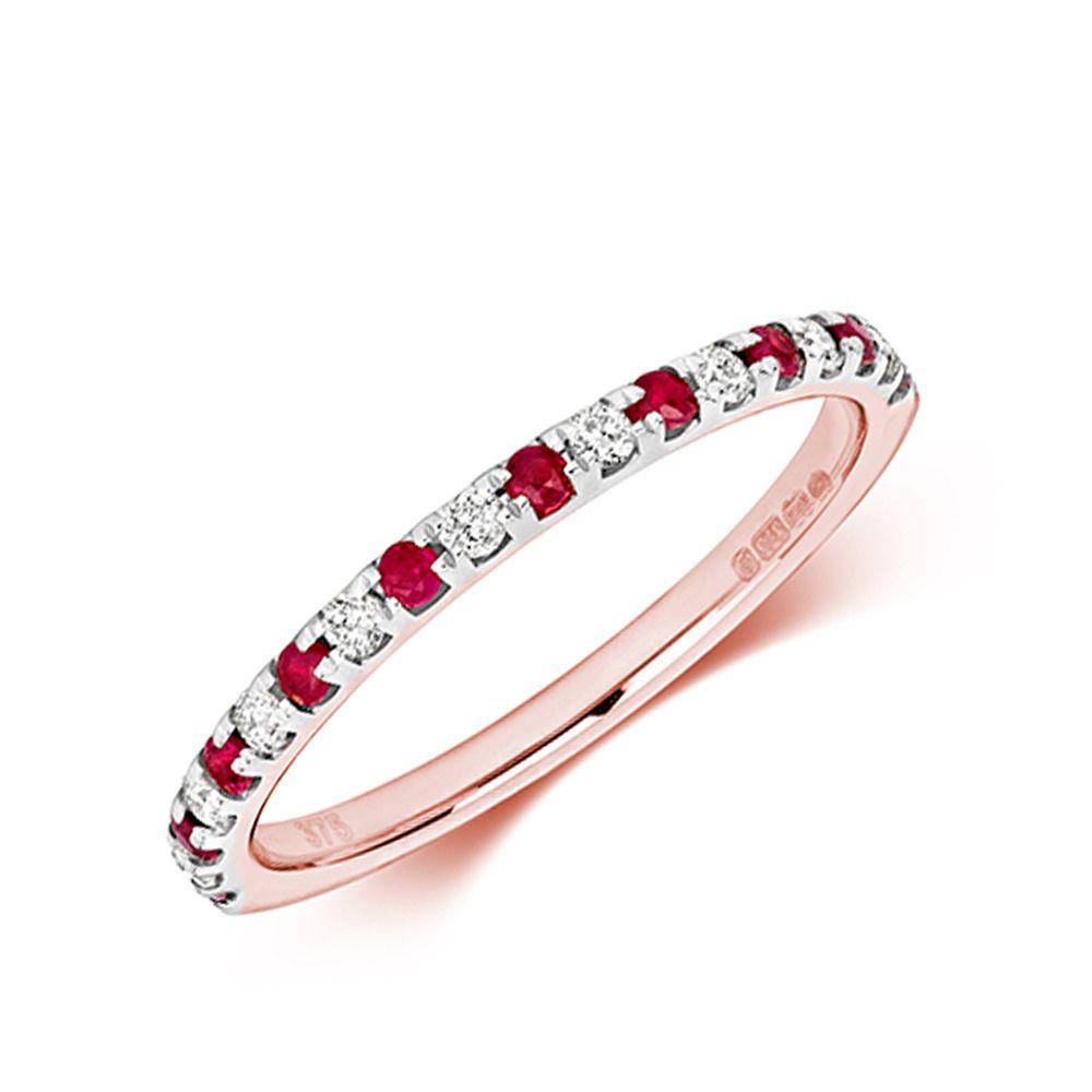 Claw Set Half Eternity Diamond and ruby Gemstone Ring